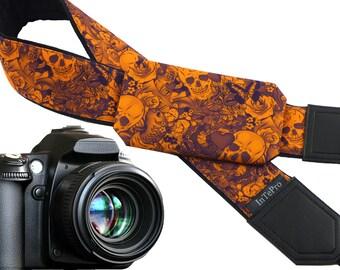 Sugar skulls camera strap with pocket. Skulls. Roses. Carps. Orange and purple. DSLR camera strap. Teens gift. Personalized camera strap.