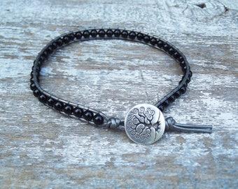 Ankle Bracelet - Leather wrap ankle bracelet - Black anklet