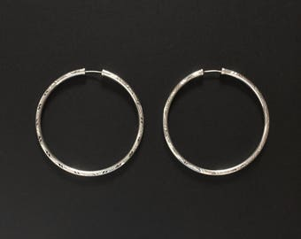 Real 925 Sterling Silver Hoop Earrings 50mm with Diamond Cut Pattern and Capped Ends