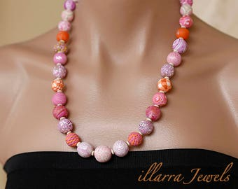 Pink Designer Polymer Clay Bead Necklace with patterned, marbled and textured beads - OOAK