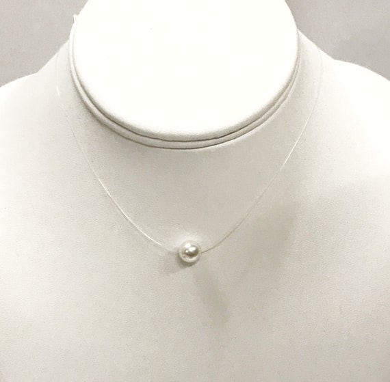 Wedding Jewelry, Floating Pearl Necklace, Bridesmaid Necklace, Wedding Necklace, Wedding Pearl, Minimalist Pearl Necklace, Daughter Necklace