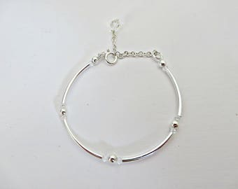 Silver bead bracelet, 925 tube bracelet, Sterling silver tube bracelet, Silver extended bracelet, Dainty silver bracelet, Made in the UK