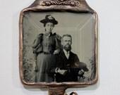 1870's - 1890's Tintype photo necklace, wearable romantic artifact