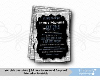 We have Big News Retirement Party Invitations | Retirement Celebration Invitations | Newspaper Invite | Printed or Printable Invitation