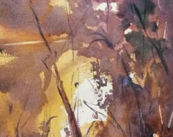 Original Watercolour painting reflections