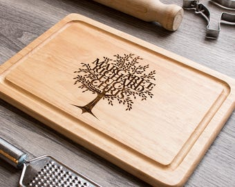 Family Tree Chopping Board, Personalised Chopping Board, Valentine Gift for her, Foodie Gift, Cutting Board, Bespoke Cutting Board