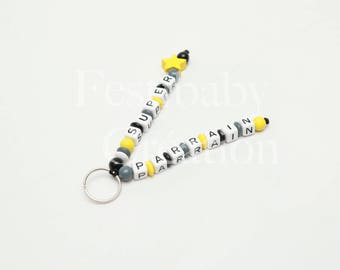 Keychain to personalize, worn child key Keychain with beads of wood, car accessory, bag charm