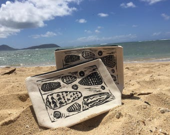 Hawaiian seashell block print, zipper clutch, black and white seashell print bag