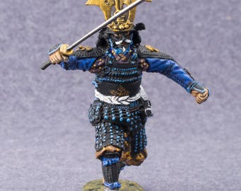 Samurai Model Figures-Japanese Samurai Middle Ages Toy Soldier 1/32 Scale Hand Painted 54mm Collectible Tin Miniature
