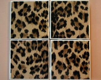 FREE USA s/h, Ceramic Tile Coasters, Cheetah print, Set of 4, Hand Made, Fine Art, Table/ Drink Coasters, Home Decor