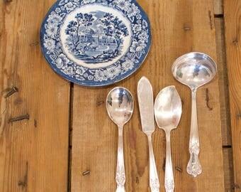 SilverPlate Hostess Flatware Set, International Silver, Signature Monogram, Butter Knife, Jelly /  Consommé Soup Ladle & Gumbo/ Tea Spoon