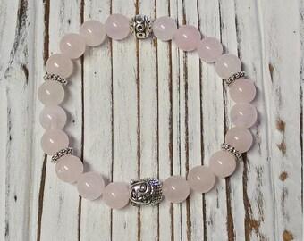 Rose Quartz Stone Bracelet, Meditation, Stackable, Stretch Bracelet, Pink Bracelet, Buddha Head Charm Bracelet