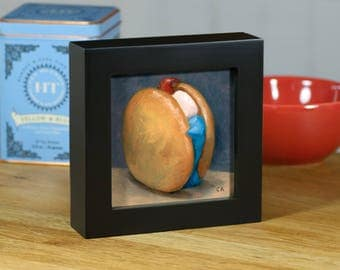 "Red, White and Blue Whoopie Pie, Original Food Painting, 4""x4"" Framed Oil Still Life"