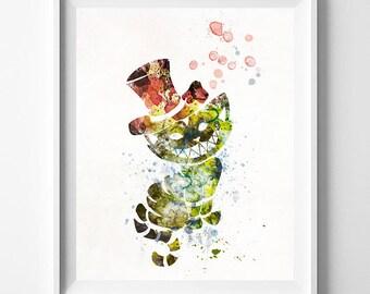 Cheshire Cat, Cheshire Cat Print, Alice Wonderland Art, Alice Print, Disney Poster, Wedding Gift, Nursery Poster, Type 2, Mothers Day Gift