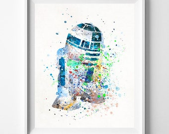 R2D2 Print, R2D2 Poster, R2D2 Art, Star Wars Gift, Star Wars Poster, Star Wars Art, Boy Room Decor, Playroom Art, Boy Gift, Valentines Day