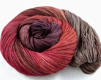Tawny Port Is My Resort! - PREORDER - 100g  437yd Fingering Luxury Yarn 70/20/10 Sw Merino/Yak/Nylon- black cherry, spiced orange, gray