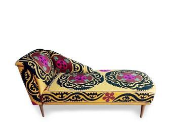 SHAMSI Yellow Lounge sofa, ottoman, day bed, bohemian style with suzani, home decor, boho chic