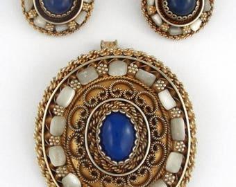 1950s - Israel - Large Vermeil 935 Sterling Silver Brooch / Pendant & Earrings Set