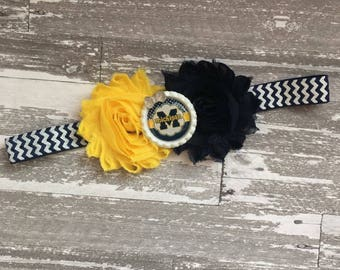 university of Michigan Headband - Michigan Football - michigan bow - michigan beadband