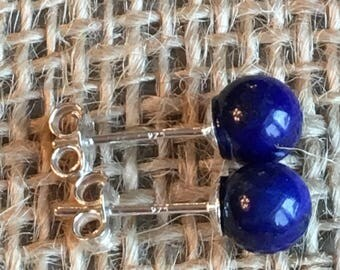 Natural Lapis Lazuli Stud Earrings