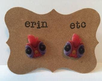 Handmade Plastic Fandom Earrings - Hei Hei Rooster