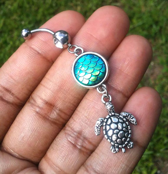 CZ Mermaid scale turtle belly button navel ring 14 gauge