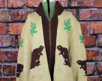 Beaver and Maple Leaves Vintage Canadian Curling Sweater