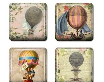 80%  off Graphics Sale Vintage Hot Air Balloon Images Digital Collage 1 inch Square Scrabble Tile Images for Scrabble Tiles Resin Pendants G