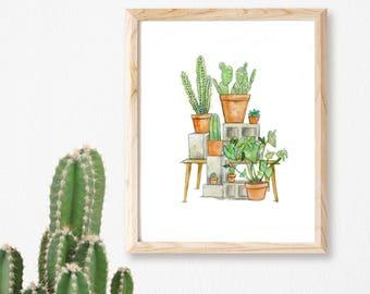 My Homies' Print | Cactus Print  | Botanical print, | Cactus Plants  | Succulents  | Cacti Print | Indoor Plants | Cacti | Cacti Wall Art