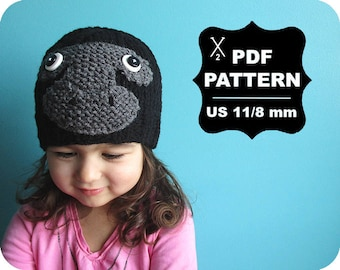 English-French Two Needle KNITTING PATTERN / Digital Download / #62 / Knitted Gorilla monkey Hat / 6-16M to 5 years-Adult / US11 / 8mm