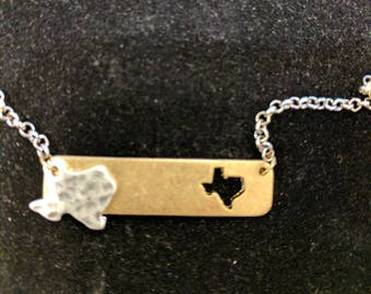 Texas Bar Necklace in Gold or Silver