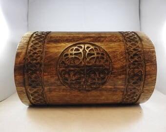 Hand carved wooden Celtic knot box. Celtic knot. Wooden chest. Celtic box. Celtic. Wooden chest. Storage. Home decor. Decorative box. Box.