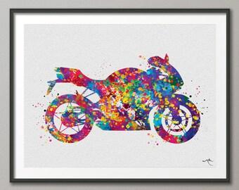 Sportbike Watercolor Print Sport Bike Motorcycle Rider Dirt Bike Motorbike Rider Stunt Racing Motocross Poster Wall Art Motorbike Sport-224