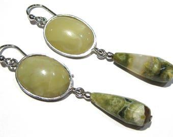 green opal earrings silver 925%