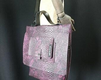 Purple snake look chic bag