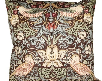 William Morris Strawberry Thief Chocolate Cushion Cover