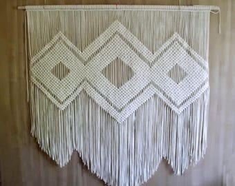 "DIY tutorial for Extra Large Cotton Macrame wall decor- 50"" wide and 53"" long-  digital download, macrame e-pattern, DIY wall hanging pdf"