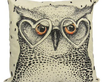 Horned Owl With Heart-Shaped Glasses Sketch - Pillow cover