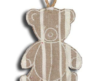 Teddy bear embroidered hanging Ecru stripes