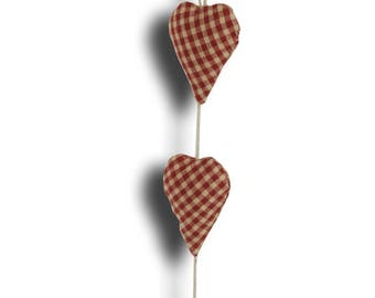 Garland of 3 hearts in red gingham fabric