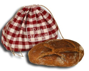 Bread bag with embroidered country bread