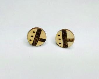 Circle Wood Burned Stud Earrings