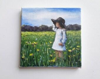 original acrylic painting, litte girl painting, small painting, landscape, original painting, bohemian painting, acrylics canvas, original
