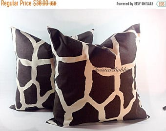 SALE Brown Pillow. Giraffe. Pillow case. 22x22. Animal print. Cm. Brown and natural  pillow cover. Set of two.com