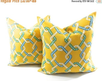 SALE Outdoor Pillow cover. Set of 2. Cape Cod Summer. Yellow. Beach decor. stain & dirt resistant Decorative pillow case. Select your size