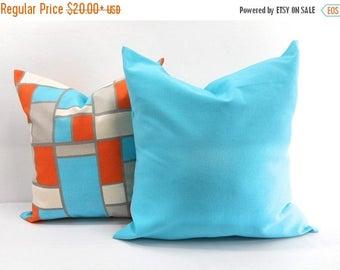 SALE Mix Match Hopscotch Mandarin & Blue  Pillow case.Set of 2, Sham cover, Orange blue and natural ,Cushion cover, Select your size.