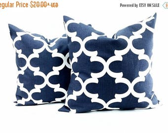SALE Navy Blue Moroccan Quatrefoil Lattice set of 2 Trellis Pillow Cover Sham Pillow case.Select your size.