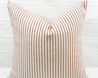 SALE Red Stripe Pillow cover. Red Classic Stripe. Red  and white ticking Stripe  Pillow Case. 1 piece.  cotton. Select your size