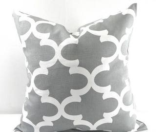 SALE Cool Grey Moroccan Pillow cover. grey and white Quatrefoil Lattice Trellis Pillow Cover Sham Pillow case.Select your size.