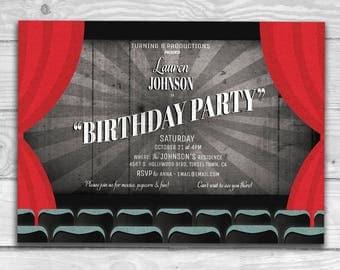 Old Movie Title Card Birthday Party Invitation   Custom Printable PDF and JPG